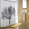 Aqualine Sprchový závěs 180x200cm, polyester, černá/bílá, strom ZP008