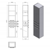 Aqualine VEGA skříňka vysoká s košem, 40x184x31cm, bílá VG180