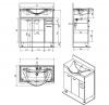 Aqualine KERAMIA FRESH umyvadlová skříňka 74, 5x74x34, 7cm, dub platin 50083