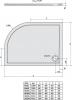 Polysan RENA L sprchová vanička z litého mramoru, čtvrtkruh 100x80x4cm, R550, levá, bílá 75511