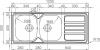 Nerezový dřez Sinks OKIO 1200 DUO V 0,7mm matný RDOKM12050027V