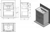 Aqualine POLY umyvadlová skříňka 61, 5x74, 6x43 cm, 2xzásuvka, bílá PL065