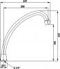 Aqualine Universální výtokové ramínko kbaterii, 20cm, typ-J, chrom 15J200