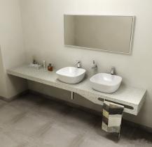 Sapho TAILOR+ rockstone deska 250x50 cm, límec R, držák ručníku vpravo TRP250R