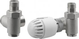 Aqualine ECO COMBI připojovací sada ventilů, termostatická, pravá, nikl/bílá CP994