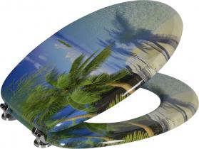 Aqualine FUNNY WC sedátko s potiskem palma, MDF HY-S351