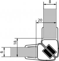 Polysan Sada dvou těsnění (magnet) na 6 a 8mm sklo, 2000mm , varianta roh M128
