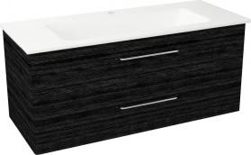 Sapho PURA umyvadlová skříňka, 2x zásuvka 117x50, 5x48, 5cm, graphite line PR128