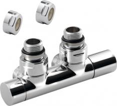 Sapho TWIN připojovací sada ventilů pro středové připojení, rozteč 50mm, chrom CP401S