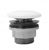 """GSI GSI umyvadlová výpust 5/4"""", neuzavíratelná, tl.5-65 mm, keramická krytka, bílá lesk PVC11"""