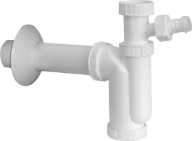 Sapho Dřezový sifon s odbočkou 1'1/2 odpad 50mm, bílá CV1016