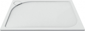 Mereo Obdélníková sprchová vanička s oblým krytem sif., 120x80x3 cm, vč. sif., bez nožiček, litý mramor CV76CS