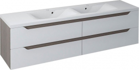 Sapho WAVE dvojumyvadlová skříňka 180x50x48cm, bílá/mali wenge (WA180) WA180-3021