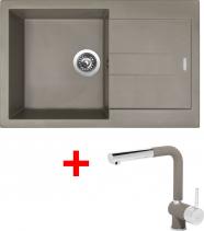 Granitový dřez Sinks AMANDA 860 Truffle+MIX 3 P GR AM86054MI3PGR54
