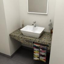 Sapho TAILOR+ rockstone deska 100x50 cm, límec F, držák ručníku vpravo TRP100F