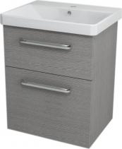 Sapho THEIA umyvadlová skříňka 56, 4x70x43, 5cm, 2xzásuvka, dub stříbrný TH064