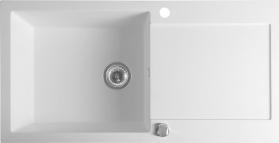 Sapho Dřez granitový vestavný s odkapávací plochou, 97x50 cm, bílá GR1611