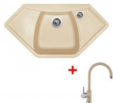 Granitový dřez Sinks NAIKY 980 Sahara+VITALIA GR NA98050VIGR50