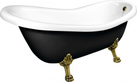 Polysan RETRO volně stojící vana 169x75x72cm, nohy bronz, černá/bílá 72969