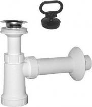 Sapho Umyvadlový sifon, nerez výpust, zátka s uchem, odpad 40 mm, bílá CV1012