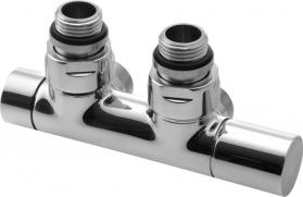 Sapho TWIN připojovací sada ventilů pro středové připojení (50 mm), pravá, chrom CP401