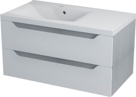 Sapho WAVE umyvadlová skříňka 89, 7x45x47, 8cm, levá, bílá/dub stříbrný WA094L