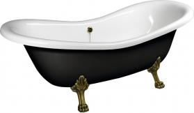 Polysan CHARLESTON volně stojící vana 188x80x71cm, nohy bronz, černá/bílá 72960