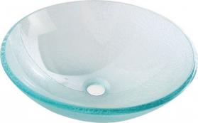 Sapho ICE skleněné umyvadlo průměr 42 cm, čirá s pískováním 2501-04