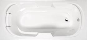 Polysan KAILA obdélníková vana 190x88x43cm, bílá, podhlavník v bílé barvě 26111