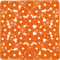 Aqualine MARGHERITA podložka do sprchového koutu 51, 5x51, 5cm s protiskluzem, PVC, oranžová 975151P4