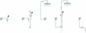 Sapho KIRKÉ WHITE podomítková sprchová baterie, 1 výstup, bílá páčka, chrom KI41BC