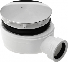 Sapho Vaničkový sifon, průměr otvoru 90 mm, DN40, extra nízký, krytka leštěný nerez SE940
