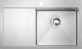 Sapho KIVA nerezový dřez s odkapem, 79x48x20 cm, provedení P EP829R