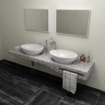Sapho TAILOR+ rockstone deska 180x50 cm, límec C, držák ručníku vpravo TRP180C