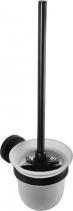 Sapho X-ROUND BLACK WC štětka nástěnná, miska mléčné sklo, černá (104113010) XB300