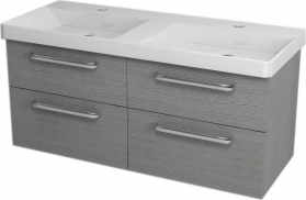 Sapho THEIA dvojumyvadlová skříňka 116x50x44, 2cm, 4xzásuvka, dub stříbrný TH124