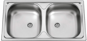 Nerezový dřez Sinks OKIO 780 DUO M 0,5mm matný RDOKM78043525M