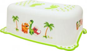 Aqualine Dětské protiskluzové stupátko do koupelny Dinosauři, bílá 7778