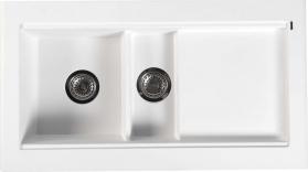 Sapho Dřez granitový vestavný s odkapávací plochou a vaničkou, 95, 8x53, 4 cm, bílá GR1301