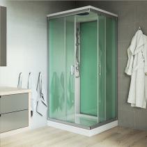 Mereo Sprchový box, čtvercový, 90cm, satin ALU, sklo Point, zadní stěny zelené, litá vanička, se stříškou CK34122MS