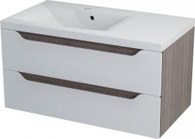 Sapho WAVE umyvadlová skříňka 89, 7x45x47, 8cm, levá, bílá/mali wenge WA090L