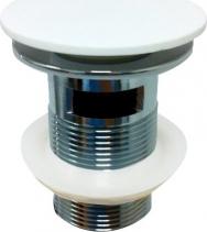 Sapho NIAGARA uzavíratelná kulatá výpust 1'1/4 s přepadem, bílá mat, systém Click Clac WN060