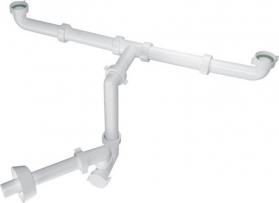 Bonomini BAZOOKA SPACE umyvadlový sifon pro dvojumyvadlo, 1'1/4, odpad 32mm, bílá 2920CP32B0