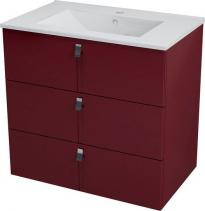 Sapho MITRA umyvadlová skříňka, 3 zásuvky, 89, 5x70x45, 2 cm, bordó MT113