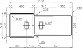 Nerezový dřez Sinks EVO 1160.1 1,2mm MP68136
