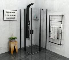 Polysan ZOOM LINE BLACK čtvercová sprchová zástěna 900x900mm, čiré sklo ZL5415B