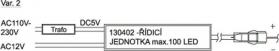 Sapho Led Set řídící jednotky (max. 100 LED) včetně transformátoru a 10m vodiče 130451