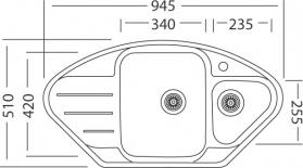 Nerezový dřez Sinks LOTUS 945.1 V 0,8mm leštěný MP68284
