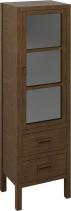 Sapho BRAND skříňka 2 šuplíky, prosklená dvířka 40x140x30cm, pravá, mořený smrk BA041