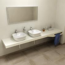 Sapho TAILOR+ rockstone deska 250x50 cm, límec L, držák ručníku vpravo TRP250L